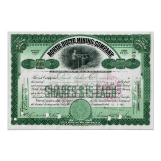 North Butte Mining Company Stock Certificate Poste Poster