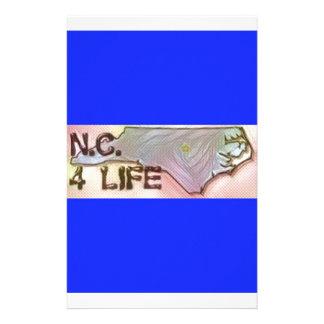"""North Carolina 4 Life"" State Map Pride Design Customized Stationery"