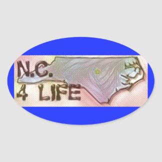 """North Carolina 4 Life"" State Map Pride Design Oval Sticker"