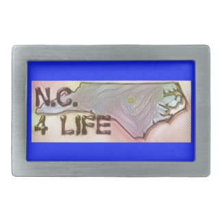 """North Carolina 4 Life"" State Map Pride Design Rectangular Belt Buckle"