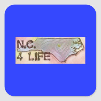 """North Carolina 4 Life"" State Map Pride Design Square Sticker"