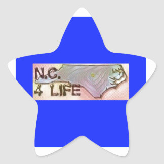 """North Carolina 4 Life"" State Map Pride Design Star Sticker"