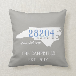 North Carolina Custom Zip Code/Colors Home Pillow