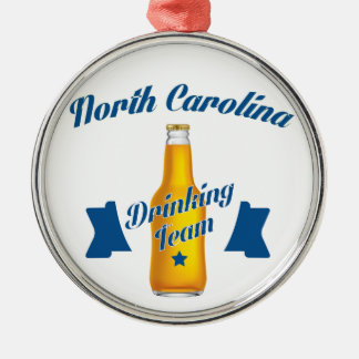 North Carolina Drinking team Silver-Colored Round Decoration