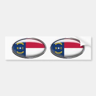 North Carolina Flag Glass Oval Bumper Sticker