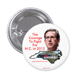 North Carolina for Rick Santorum 3 Cm Round Badge