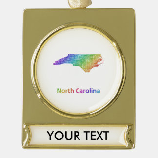 North Carolina Gold Plated Banner Ornament