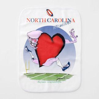 north carolina head heart, tony fernandes burp cloth