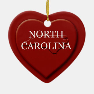 North Carolina Heart Map Christmas Ornament