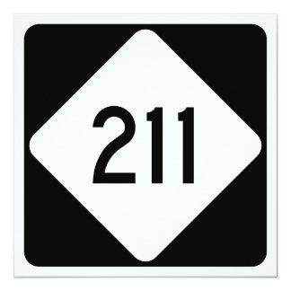 North Carolina Highway 211 13 Cm X 13 Cm Square Invitation Card