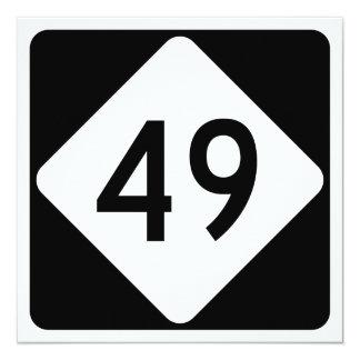 North Carolina Highway 49 13 Cm X 13 Cm Square Invitation Card