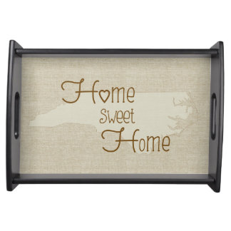 North Carolina Home Sweet Home burlap-look Serving Tray