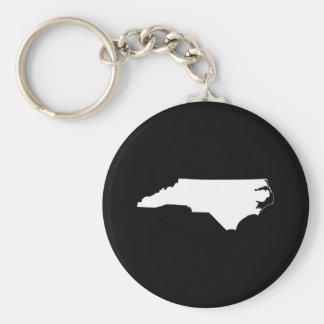 North Carolina in White and Black Key Ring
