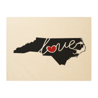 North Carolina Love!  Gifts for NC Lovers Wood Canvas