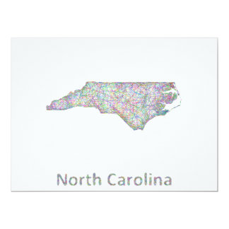 North Carolina map 17 Cm X 22 Cm Invitation Card