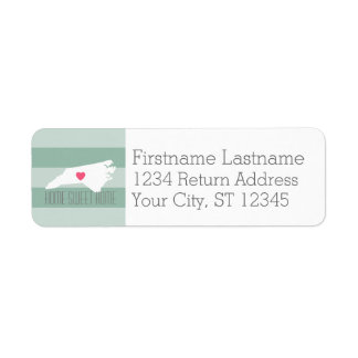 North Carolina Map Home State Love - Custom Heart Return Address Label