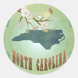 North Carolina Modern Vintage State Map – Green Round Sticker