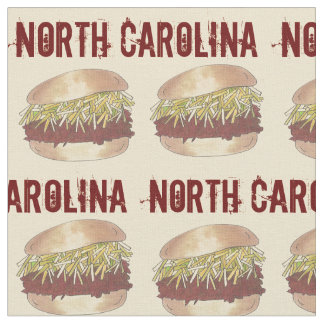 North Carolina NC Style Pork BBQ Barbecue Sandwich Fabric