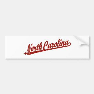 North Carolina script logo in red Bumper Sticker