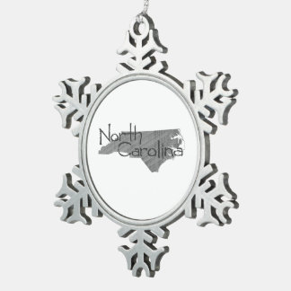 North Carolina Snowflake Pewter Christmas Ornament