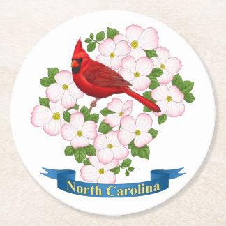 North Carolina State Cardinal & Dogwood Flower Round Paper Coaster