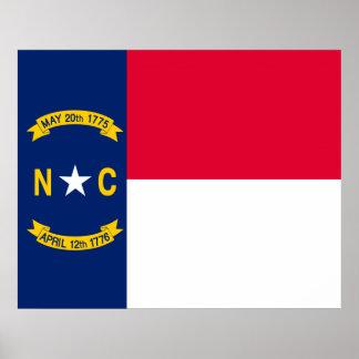 North Carolina State Flag Design Poster