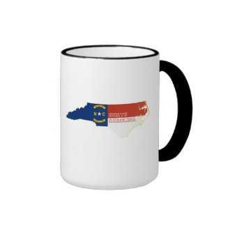 North Carolina State Flag Map Coffee Mugs