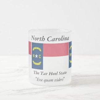 North Carolina State Flag 10 Oz Frosted Glass Coffee Mug