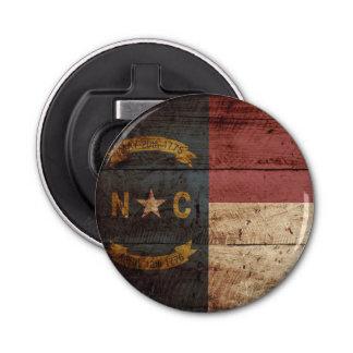 North Carolina State Flag on Old Wood Grain Bottle Opener