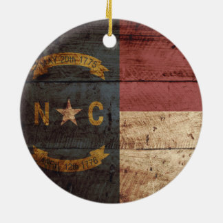 North Carolina State Flag on Old Wood Grain Round Ceramic Decoration
