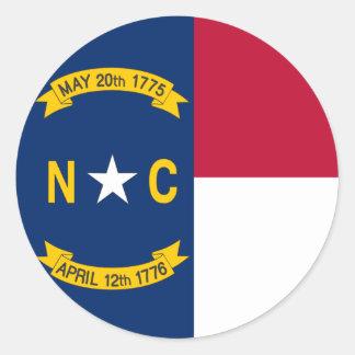 North Carolina State Flag Round Sticker