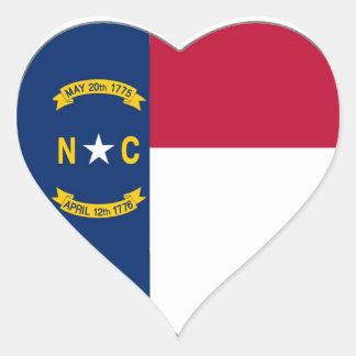 North Carolina State Flag Heart Sticker