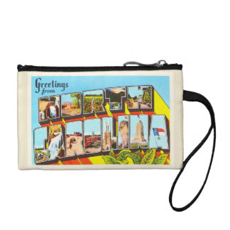 North Carolina State NC Vintage Travel Postcard- Coin Purse