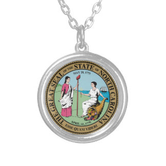 North Carolina State Seal Silver Plated Necklace