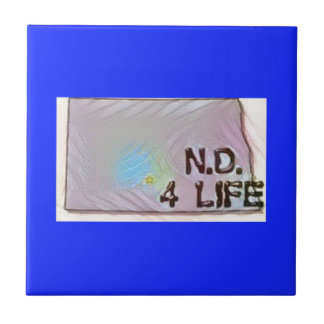 """North Dakota 4 Life"" State Map Pride Design Ceramic Tile"