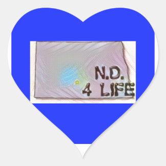 """North Dakota 4 Life"" State Map Pride Design Heart Sticker"