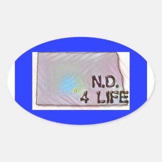 """""""North Dakota 4 Life"""" State Map Pride Design Oval Sticker"""