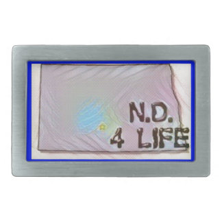 """North Dakota 4 Life"" State Map Pride Design Rectangular Belt Buckle"