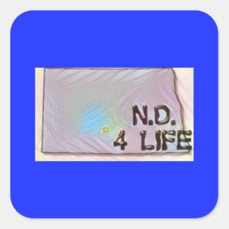 """North Dakota 4 Life"" State Map Pride Design Square Sticker"