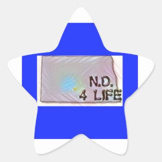 """North Dakota 4 Life"" State Map Pride Design Star Sticker"
