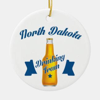 North Dakota Drinking team Round Ceramic Decoration