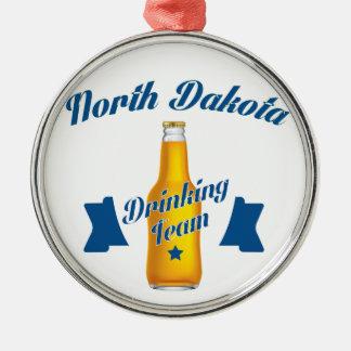 North Dakota Drinking team Silver-Colored Round Decoration