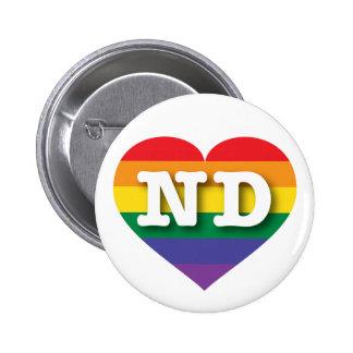 North Dakota Gay Pride Rainbow Heart - Big Love 6 Cm Round Badge