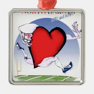north dakota head heart, tony fernandes Silver-Colored square decoration