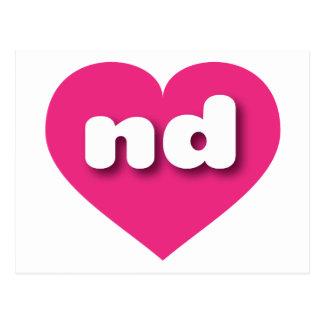 north dakota hot pink heart - mini love postcard