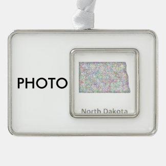 North Dakota map Silver Plated Framed Ornament
