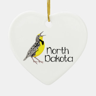North Dakota Meadowlark Ceramic Ornament