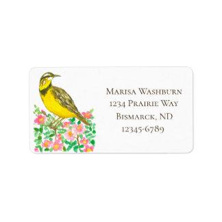 North Dakota Meadowlark Roses Return Address Label