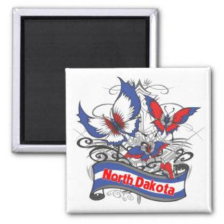 North Dakota Patriotism Butterfly Magnet