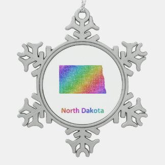 North Dakota Pewter Snowflake Decoration